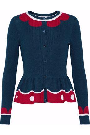 REDValentino Intarsia wool, silk and cashmere-blend peplum cardigan