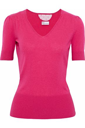 REDValentino Point d'esprit-paneled cashmere and silk-blend top