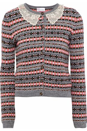 REDValentino Lace-trimmed wool-jacquard cardigan