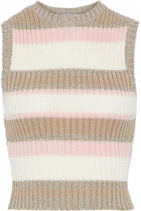 REDValentino Metallic striped ribbed cotton-blend vest