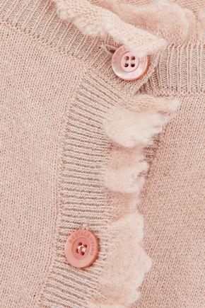 REDValentino Chiffon-appliquéd ruffle-trimmed stretch-knit cardigan