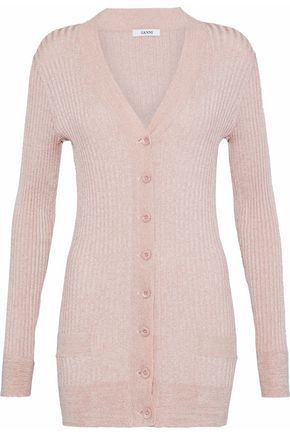 GANNI Metallic ribbed-knit cardigan