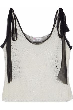 REDValentino Georgette-trimmed open-knit top