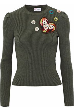REDValentino Appliquéd ribbed wool top