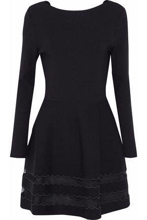 REDValentino Point d'esprit-paneled stretch-knit dress