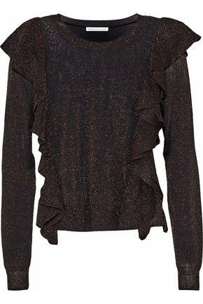 REBECCA MINKOFF Lou ruffled metallic stretch-knit sweater