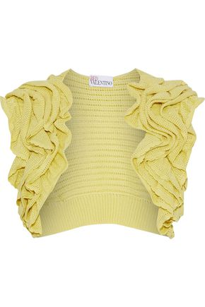 REDValentino Ruffled crochet-knit cotton shrug