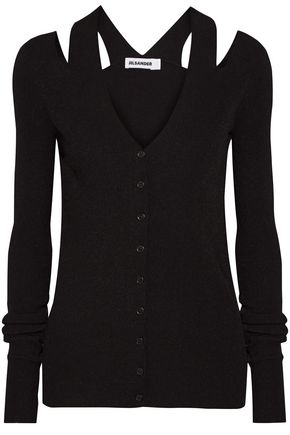 JIL SANDER Cold-shoulder ribbed-knit cardigan
