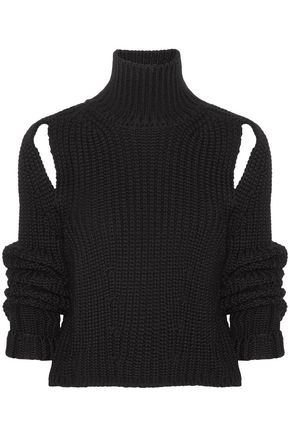 CALVIN KLEIN 205W39NYC Cropped cutout wool turtleneck sweater