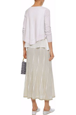 DEREK LAM Layered georgette-paneled cashmere and silk-blend sweater