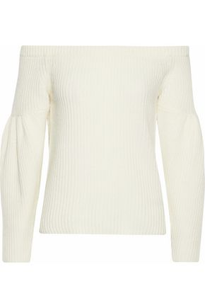 REBECCA MINKOFF Lottie off-the-shoulder ribbed cashmere sweater