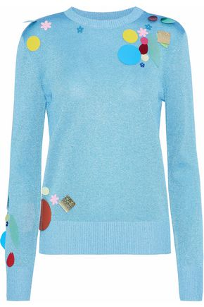 CHRISTOPHER KANE Embellished metallic knitted sweater