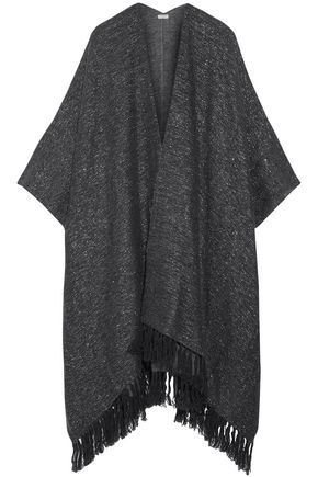 BRUNELLO CUCINELLI Fringe-trimmed metallic knitted poncho