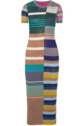MISSONI Metallic striped ribbed-knit midi dress