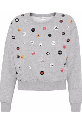 REDValentino Button-embellished cotton-blend fleece sweatshirt
