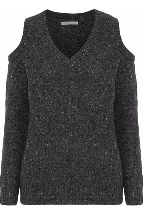 REBECCA MINKOFF Page cold-shoulder marled merino wool-blend sweater