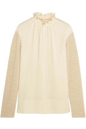 MARNI Gathered crepe-paneled wool-blend top