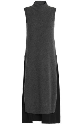 JOSEPH Two-tone wool and cashmere-blend midi dress