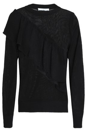IRO Ruffle-trimmed open-knit cotton-blend sweater