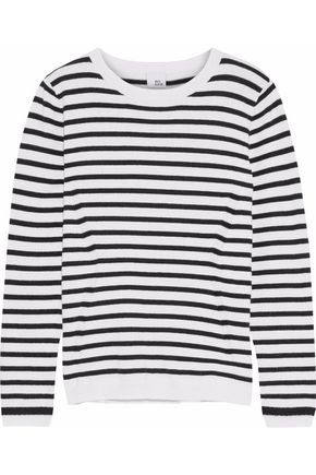 IRIS & INK Tara striped cotton and cashmere-blend sweater