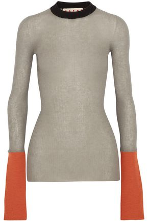MARNI Color-block ribbed-knit sweater