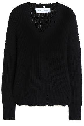 IRO Distressed ribbed cotton sweater