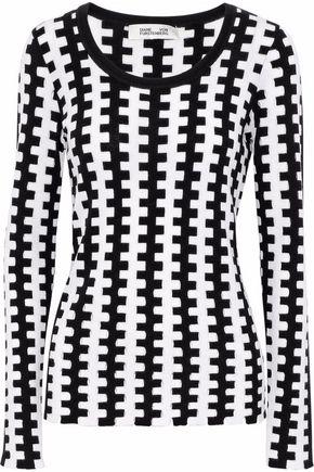 DIANE VON FURSTENBERG Cutout intarsia merino wool sweater