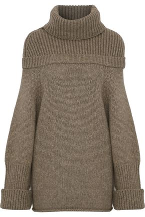 c61fc136d85c28 J.W.Anderson Woman Oversized Ribbed Knit-Paneled Wool-Blend Turtleneck  Sweater Mushroom