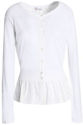 REDValentino Broderie anglaise-paneled cotton and modal-blend cardigan