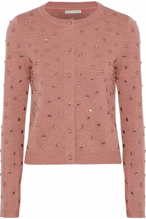 ALICE + OLIVIA Crystal-embellished stretch-wool cardigan
