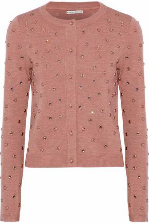 ALICE + OLIVIA JEANS Crystal-embellished stretch-wool cardigan