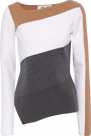 DIANE VON FURSTENBERG Asymmetric color-block stretch-knit sweater