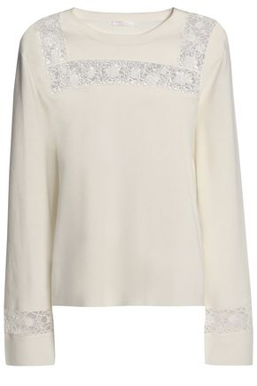 CHLOÉ Guipure lace-paneled cotton and silk-blend sweater