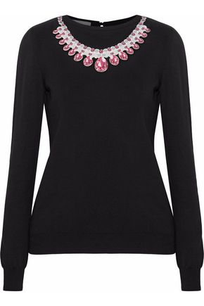 MOSCHINO Printed neoprene-appliquéd cotton sweater
