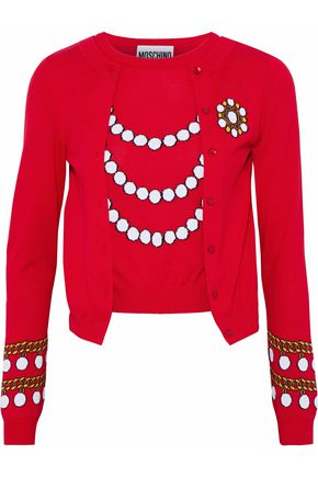 MOSCHINO Layered intarsia cotton sweater