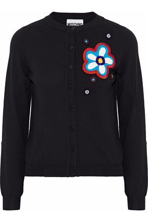 MOSCHINO Appliquéd wool cardigan