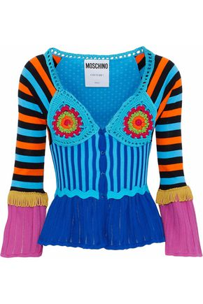 MOSCHINO Fringed crochet, stretch and pointelle-knit cotton cardigan