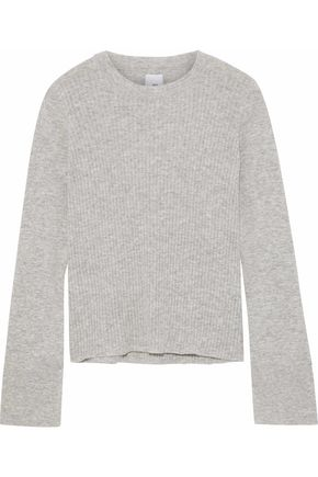 IRIS & INK Danielle mélange ribbed merino wool-blend sweater