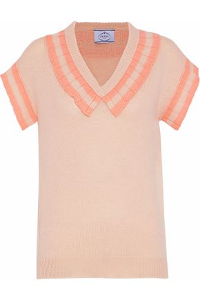 PRADA Striped ruffle-trimmed cashmere sweater
