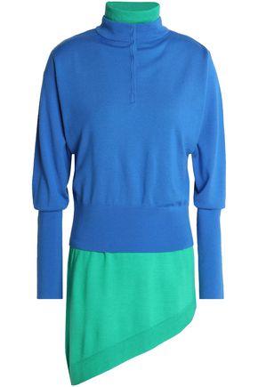 J.W.ANDERSON Asymmetric layered two-tone wool-blend turtleneck sweater