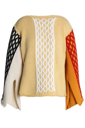 J.W.ANDERSON Color-block cable-knit wool-blend sweater