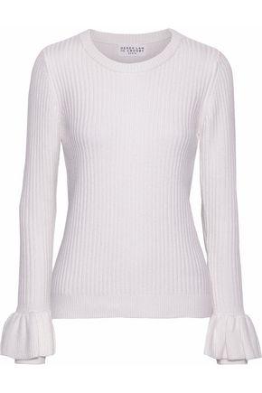DEREK LAM 10 CROSBY Ruffled ribbed-knit sweater
