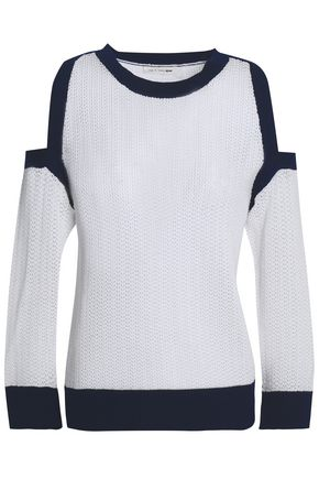 RAG & BONE Cold-shoulder two-tone pointelle cotton sweater