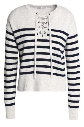 AUTUMN CASHMERE Lace-up striped mélange cashmere sweater