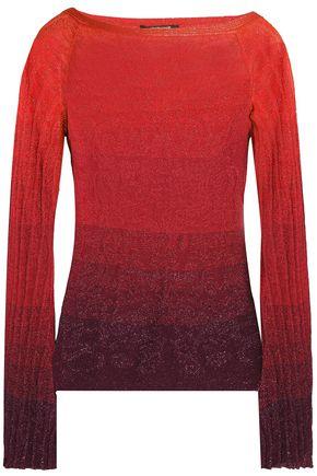 ROBERTO CAVALLI Dégradé metallic pointelle-knit top