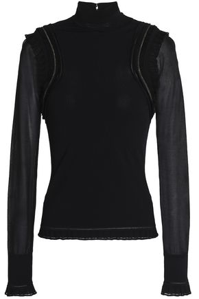 ROBERTO CAVALLI Ruffle-trimmed chain-embellished stretch-knit top