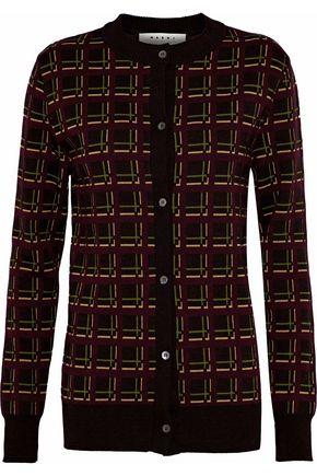 MARNI Jacquard-knit wool cardigan