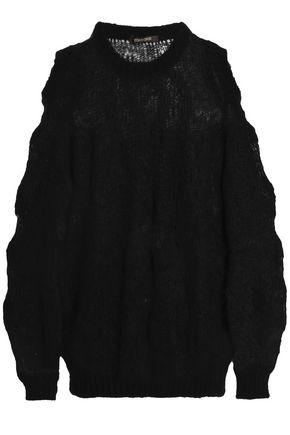 ROBERTO CAVALLI Cold-shoulder open-knit mohair-blend sweater