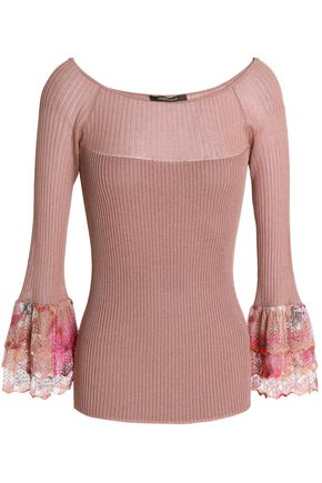 ROBERTO CAVALLI Crochet-trimmed ribbed-knit sweater