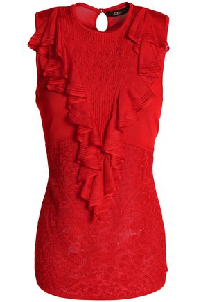 ROBERTO CAVALLI Ruffled stretch-knit top